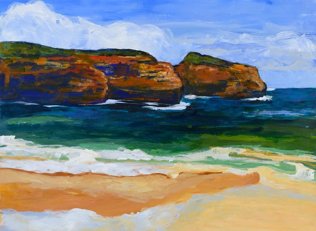 Tide's In is an expressive acrylic painting by artist Kathy Fahey depicting the incoming tide on an isolated beach.