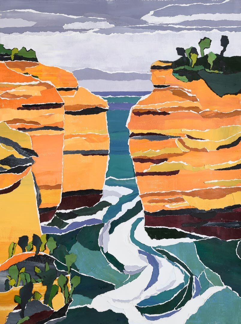 Loch Ard Gorge is a large hand painted collage of one of the iconic coastal features of South Victoria.  It is a depiction of  rugged headlands and the turbulent Southern Ocean