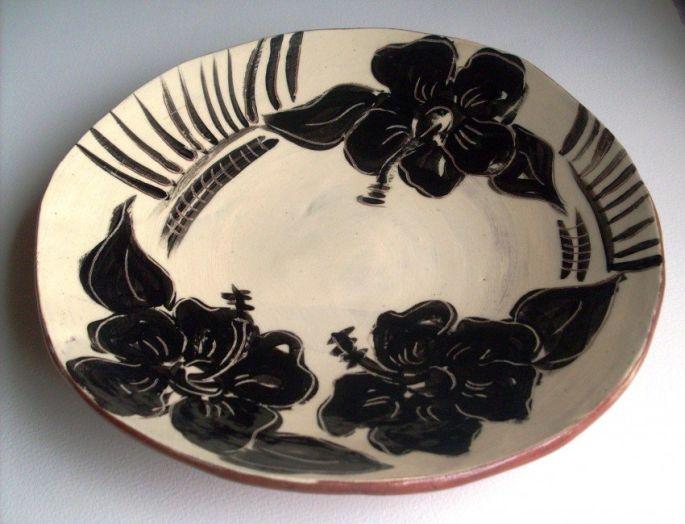 Black and White Hibiscus Bowl